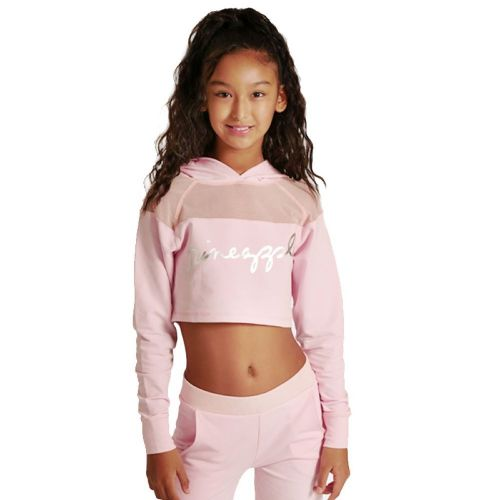 PINEAPPLE DANCEWEAR GIRLS Mesh Panel Long Sleeved Crop Hoodie Pink
